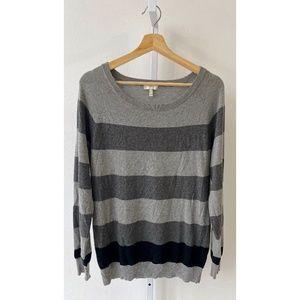 Joie Kaliah Striped Sweater Wool Cashmere Gray M